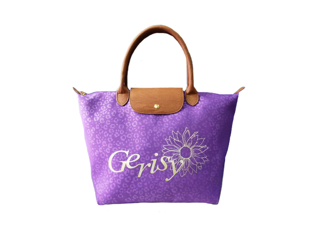 Short Handle Tote with Leopard Pattern in Purple