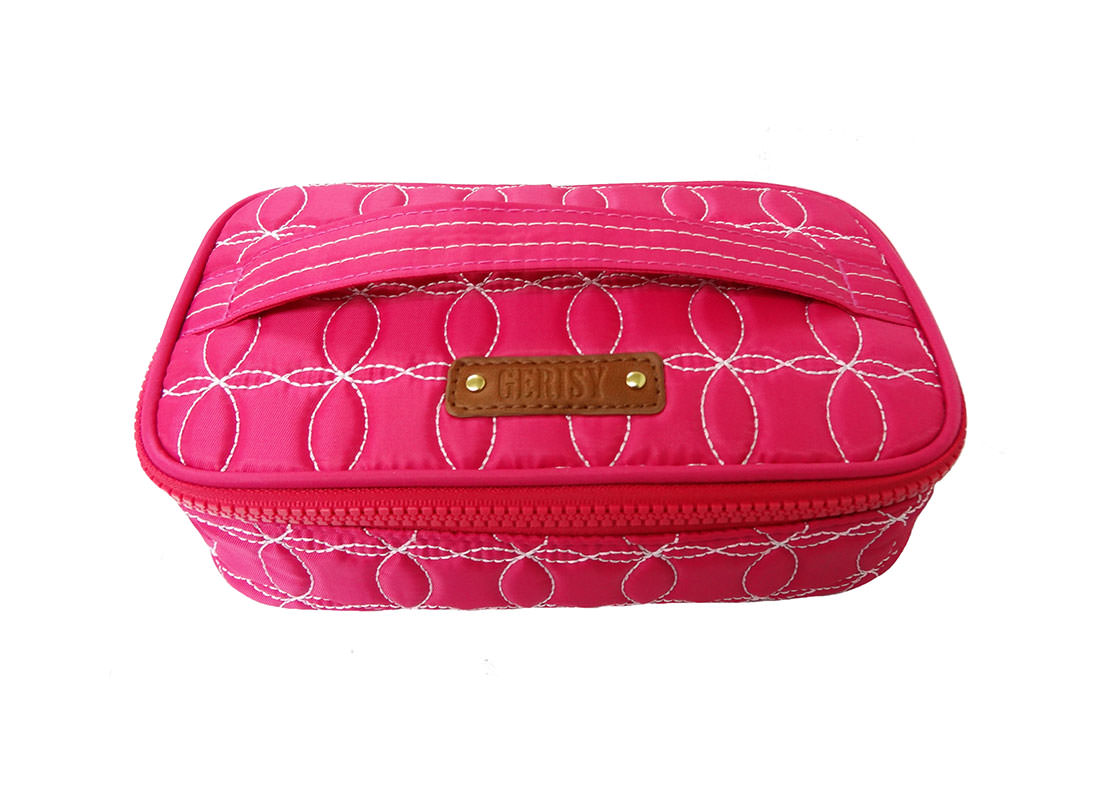 Quilted Makeup Bag in cherry Pink with handle top