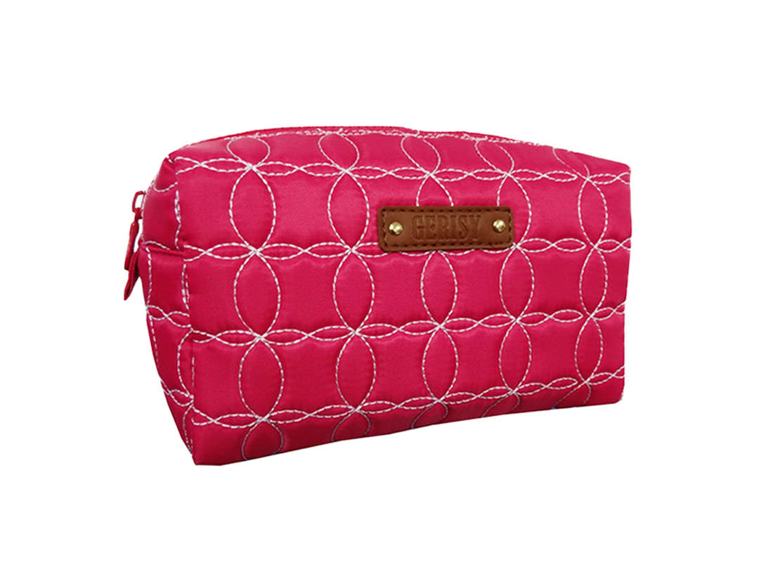 Cherry Pink Quilted Cosmetic Bag