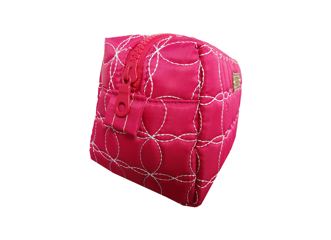Cherry Pink Quilted Cosmetic Bag Side
