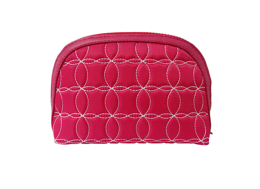 Quilted Zipper Pouch in Cherry Pink back