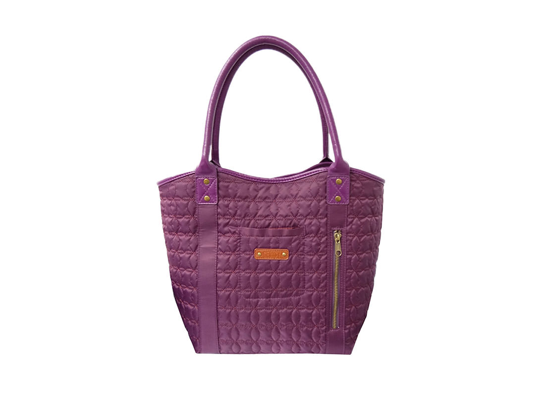 Quilted tote Bag in Dark Purple