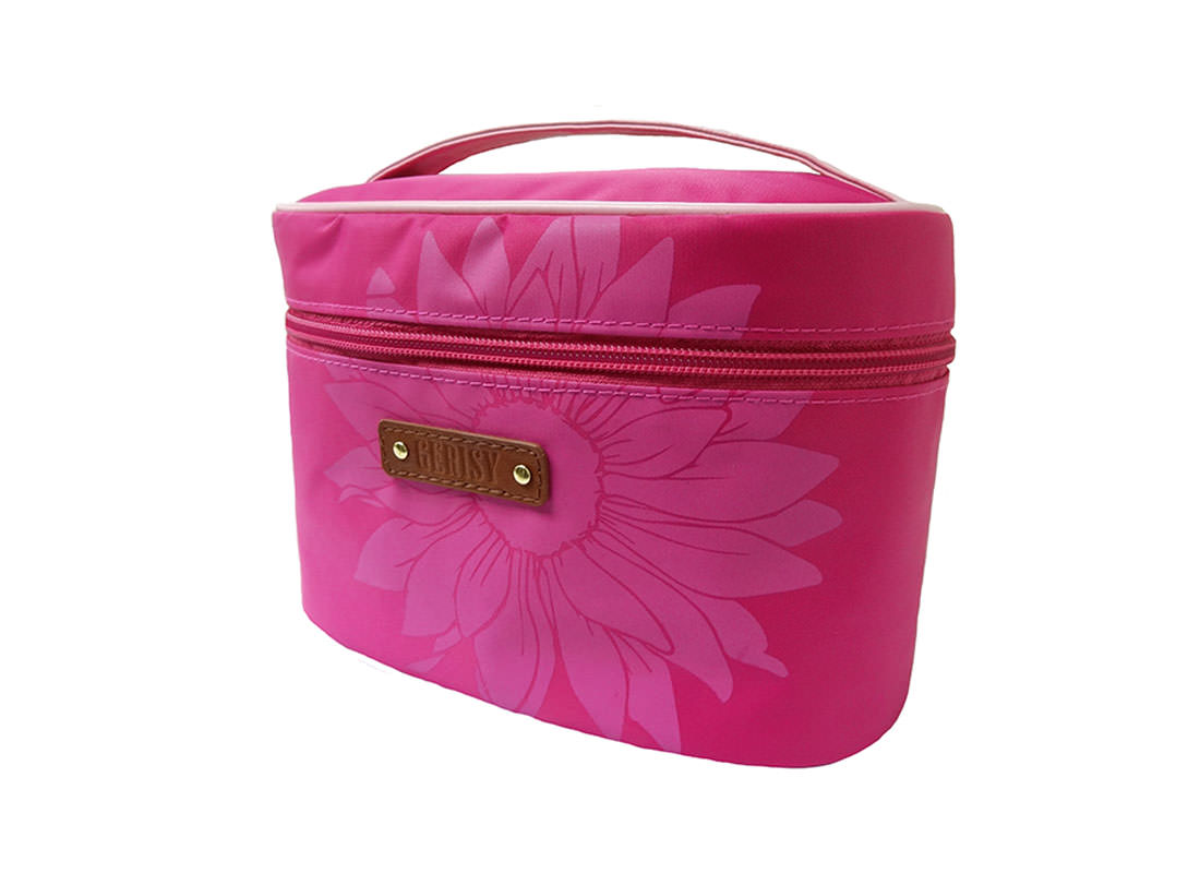 Daisy Flower Makeup Bag in Pink side