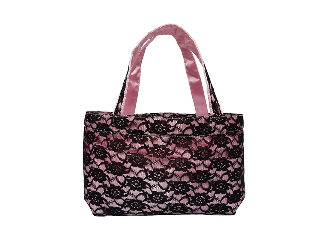 Black Lace Bag with Pink Satin