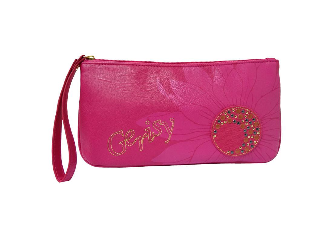 Zipper Long Pouch in Cherry Pink