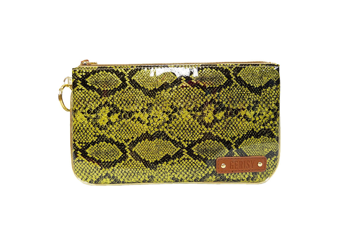 Glitter Snake Skin Zipper Pouch in Yellow