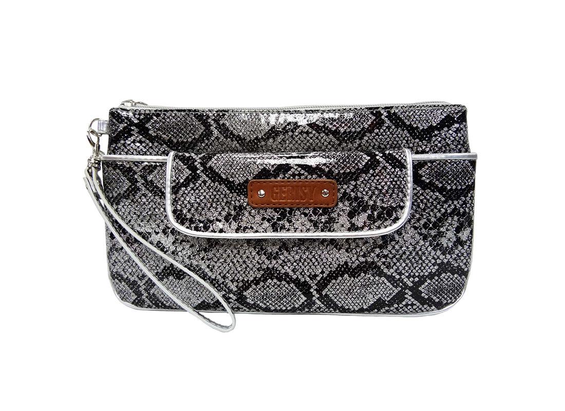 Medium Glitter pouch with snake skin pattern