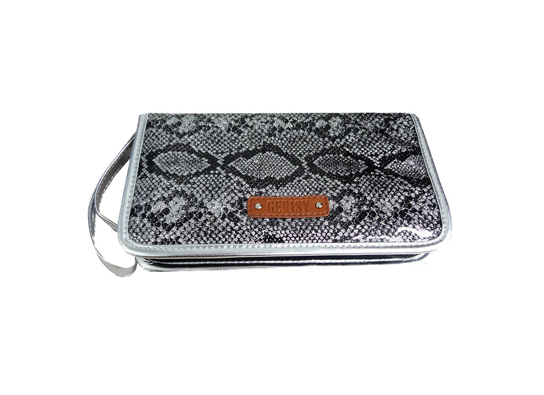Eyebrow pencil case in silver glitter snake pattern