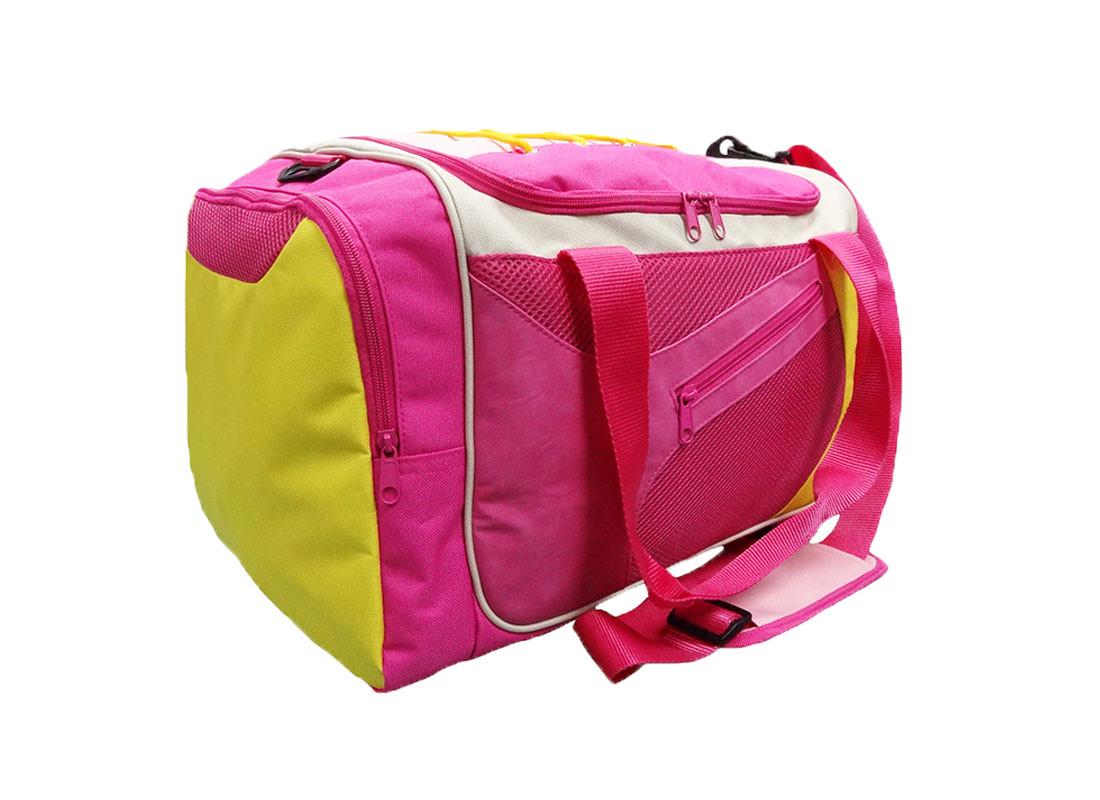 Pink Sport Bag with Shoe Pocket Side