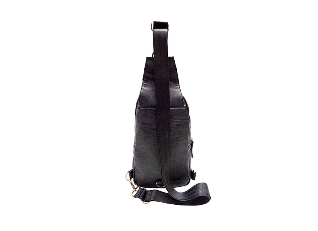 faux leather sling bag for men back