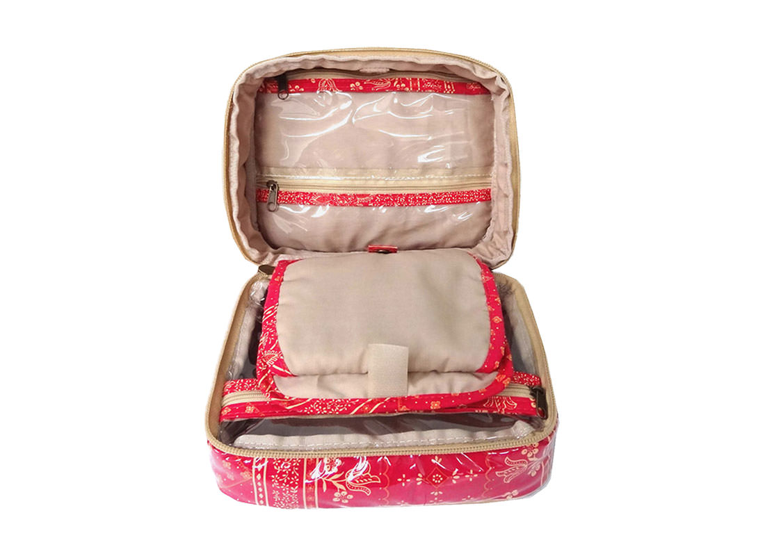 Organizer Pouch with multiple pockets in Red Color open3