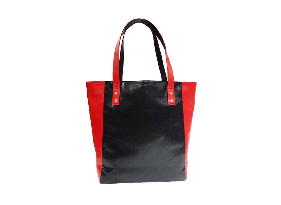 faux leather tote with car knife printing back