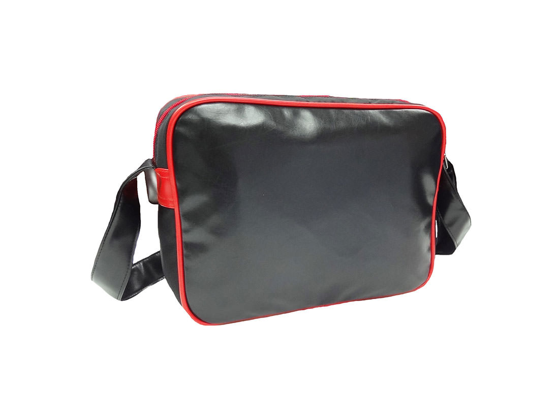 faux leather messenger with car knife printing back