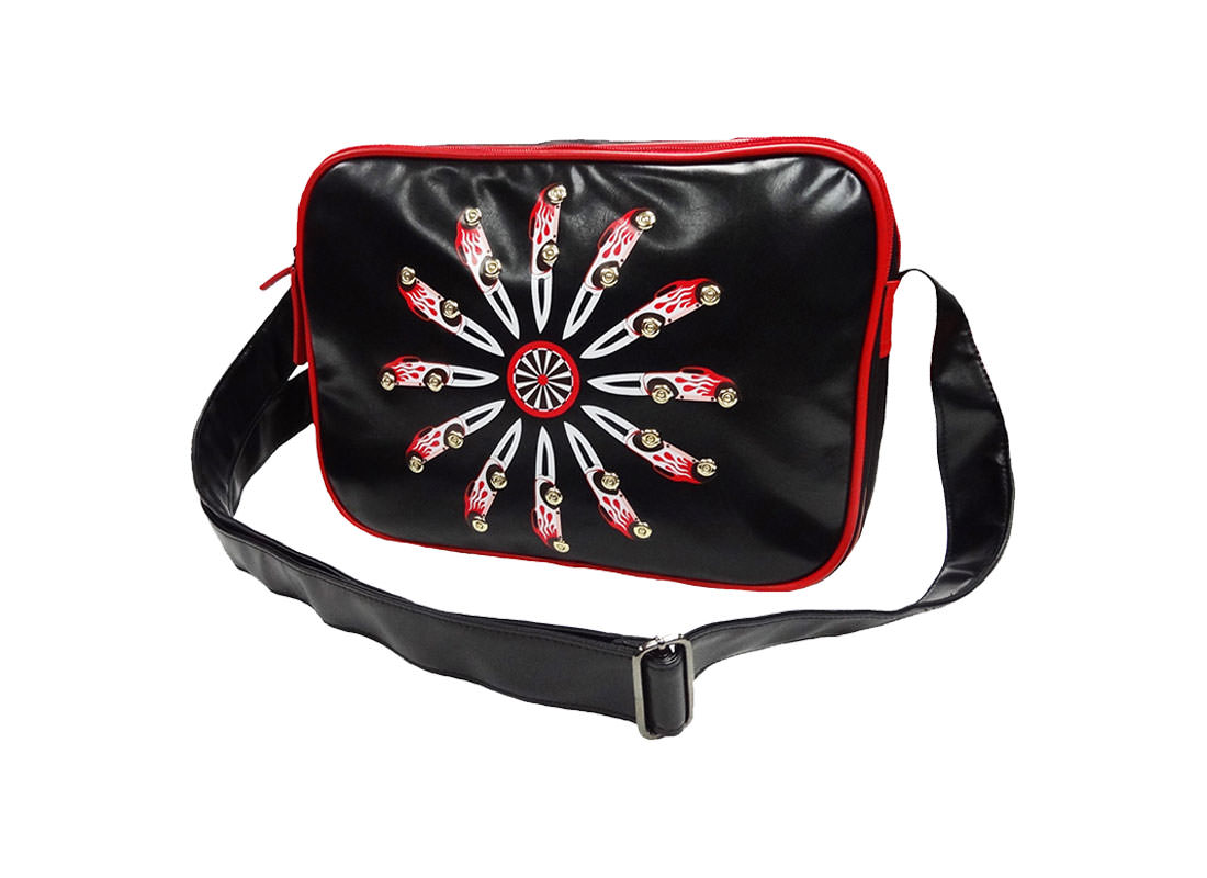 Faux Leather messenger with car knife printing