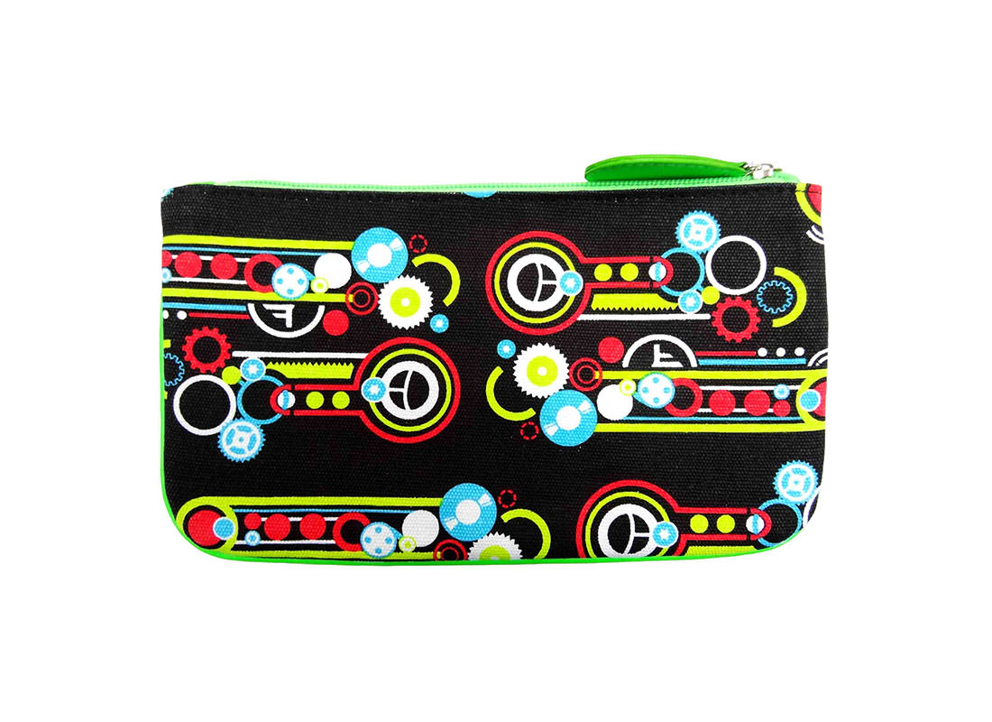 printed canvas zipper purse back