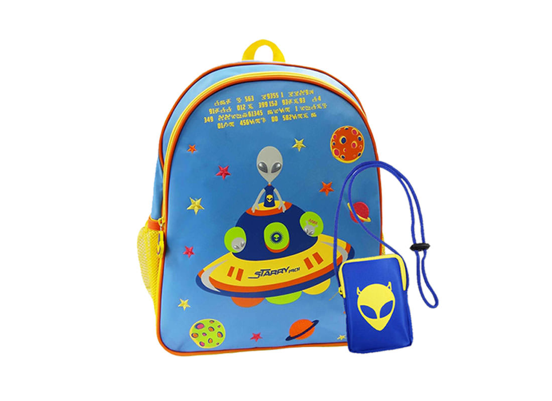 Alien Backpack for Children with Pouch