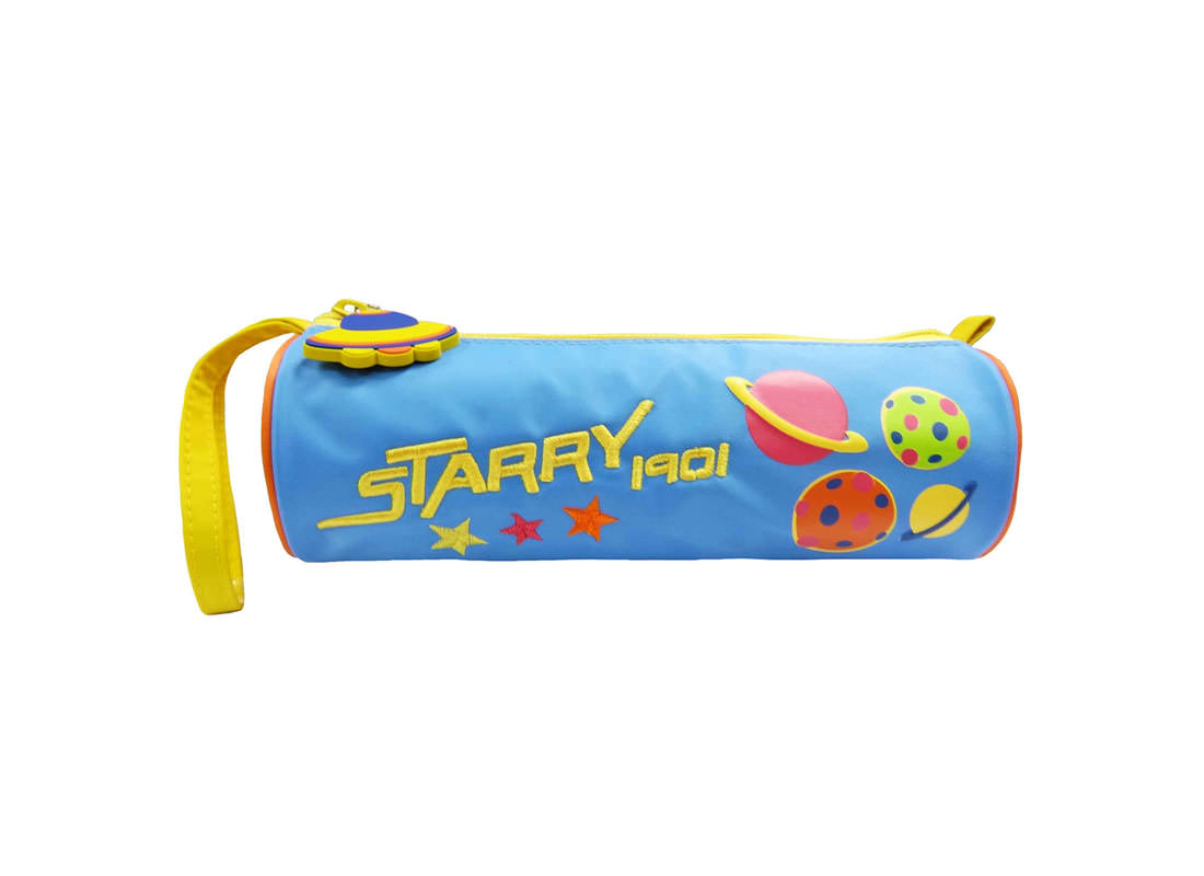 Round Pencil Pouch with Planet Printing