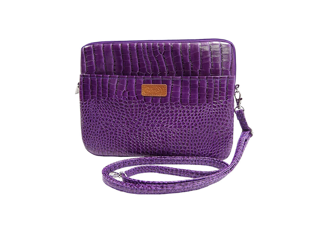 iPad Pouch with shoulder strap crocodile pattern