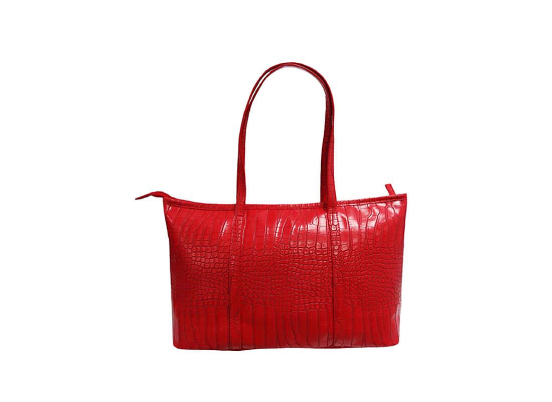 Faux Crocodile Handbag in Red Color back
