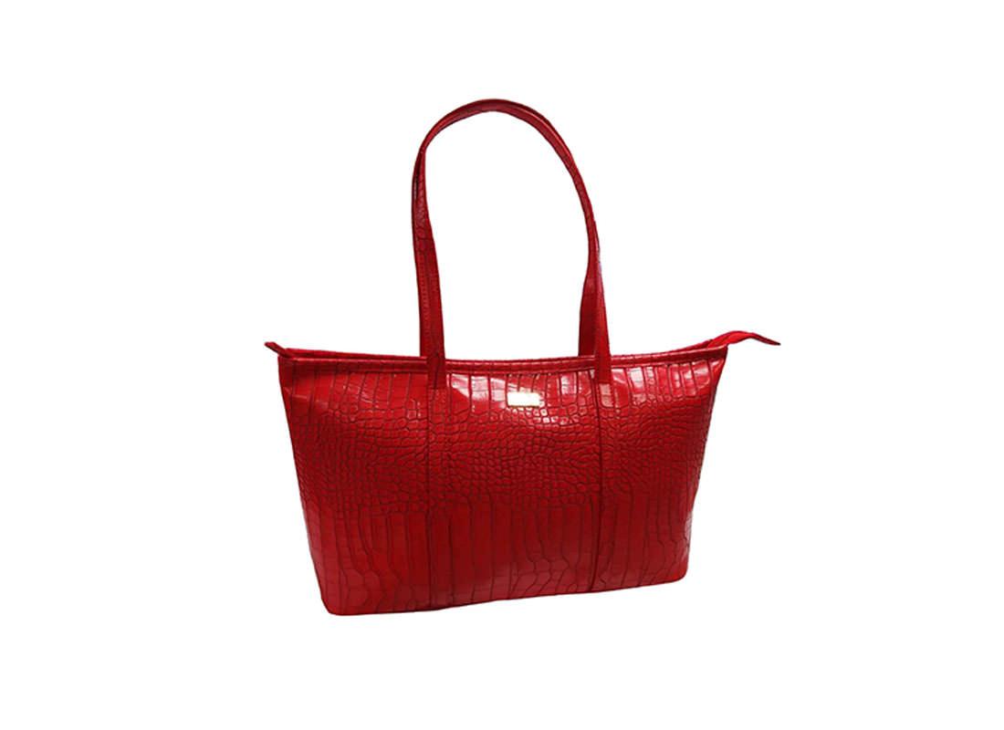 Faux Crocodile Handbag in Red Color