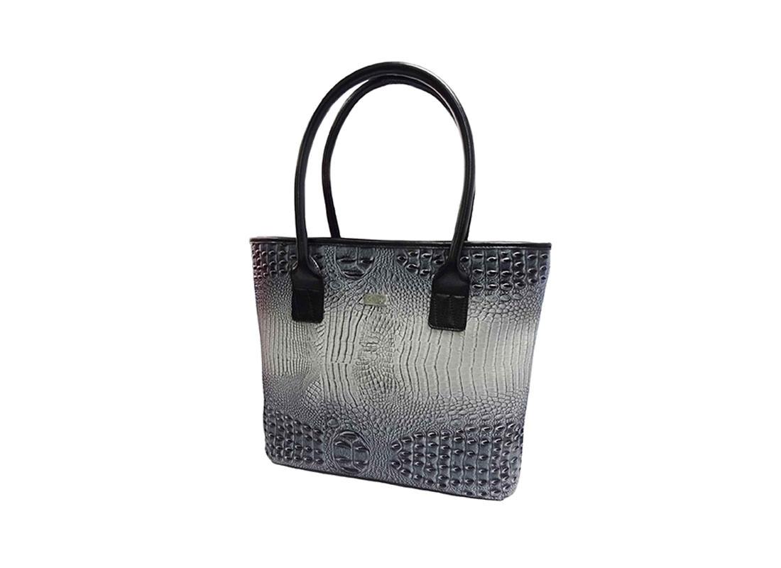 Black & Grey Faux Crocodile Handbag