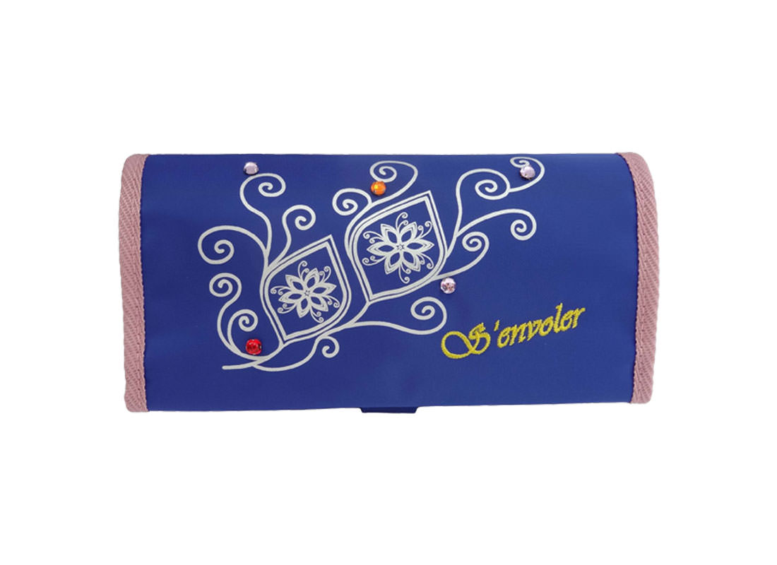 cosmetic bag with eyebrow pencil organizer