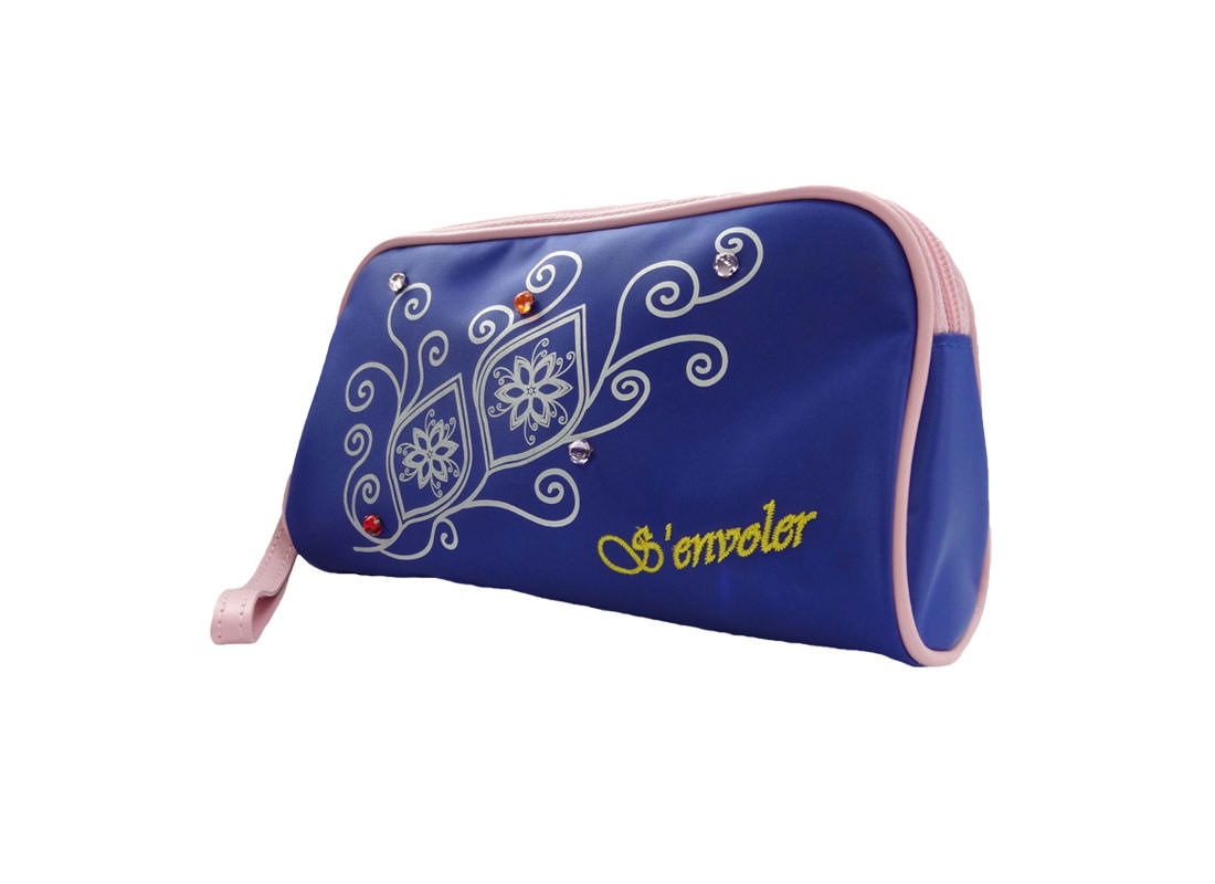simple cosmetic bag in blue with flower printing L side