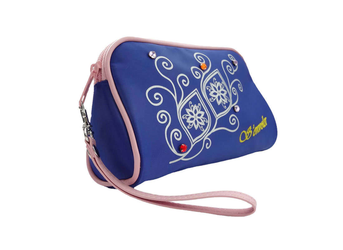 simple cosmetic bag in blue with flower printing R side