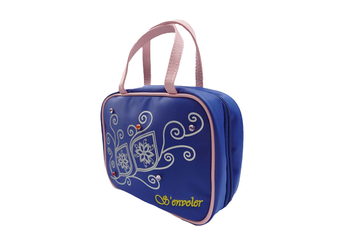 cosmetic bag with compartments in blue R side