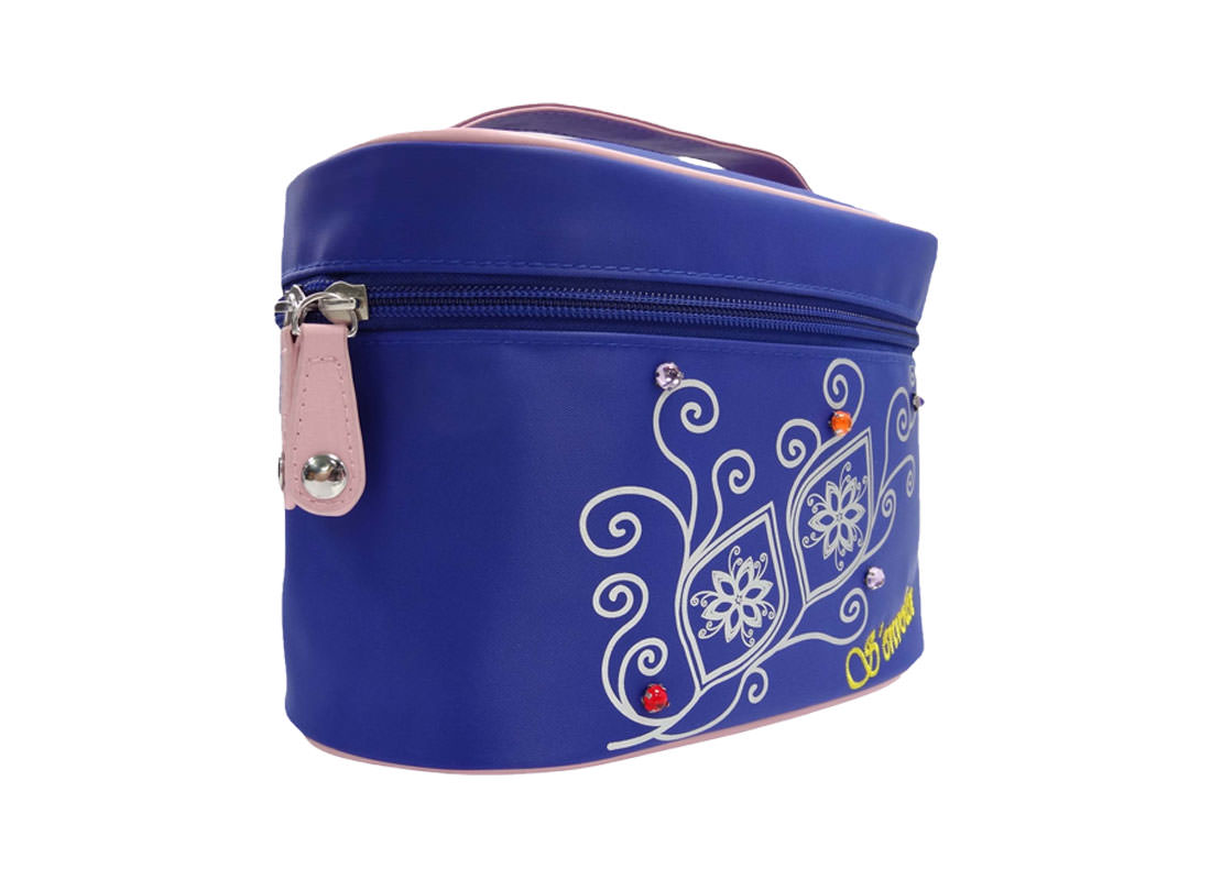 cosmetic bag with mirror in blue with flower printing L side