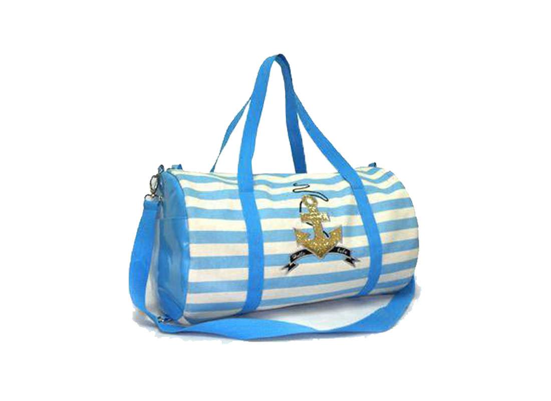 Striped Canvas Barrel Bag