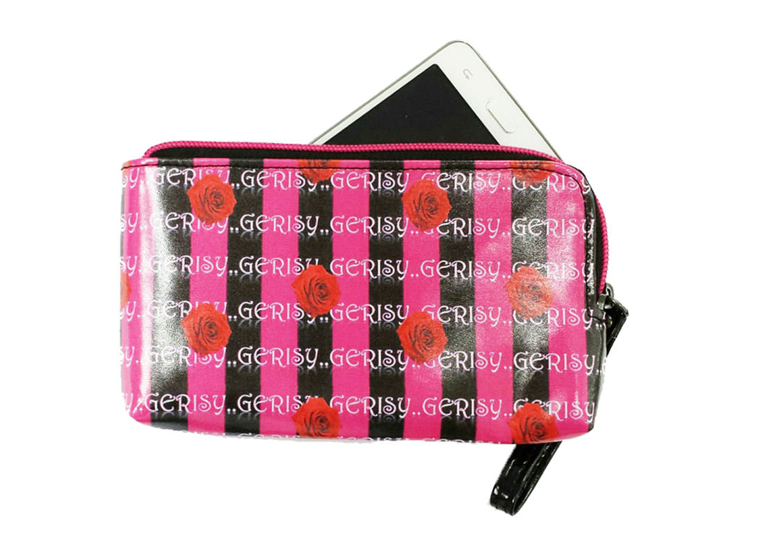 Zipper Money Pouch with Rose printing with phone