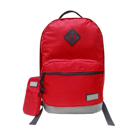 classic backpack in red with cellphone pouch