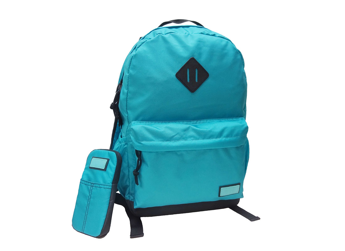 Casual Backpack in Blue with cellphone pouch Side