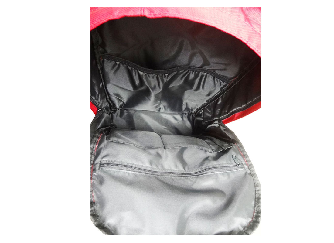 Classic Backpack in red with cellphone pouch open