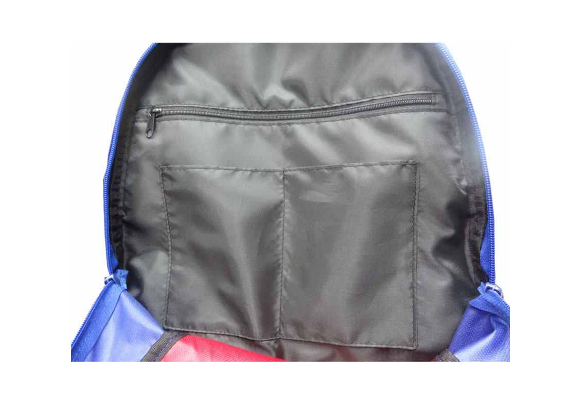 Sporty Backpack in Blue & Red interior