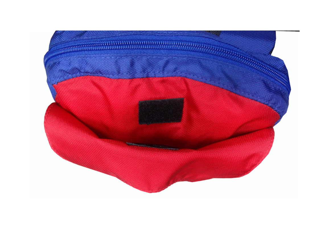 Sporty Backpack in Blue & Red Front Pocket