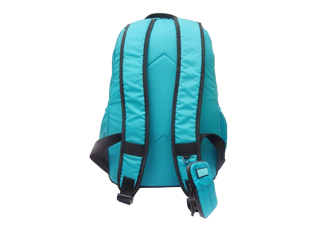 Casual Backpack in Blue with cellphone pouch back