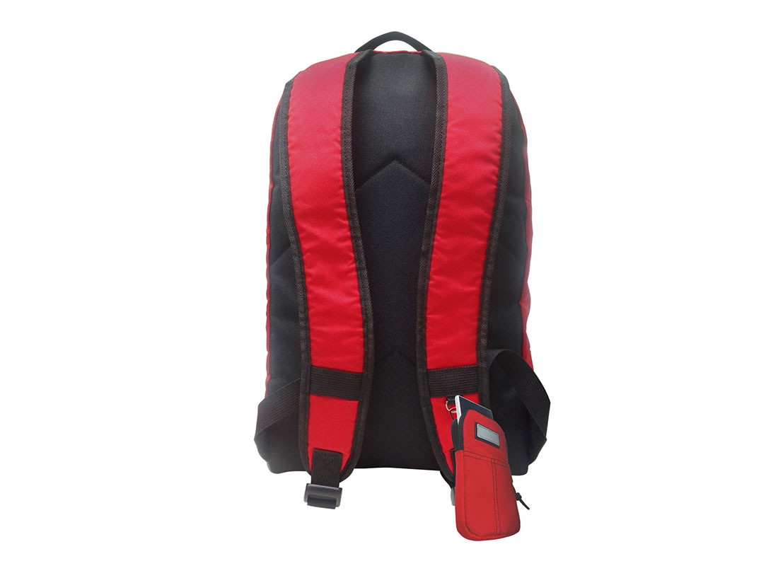 Classic Backpack in red with cellphone pouch back