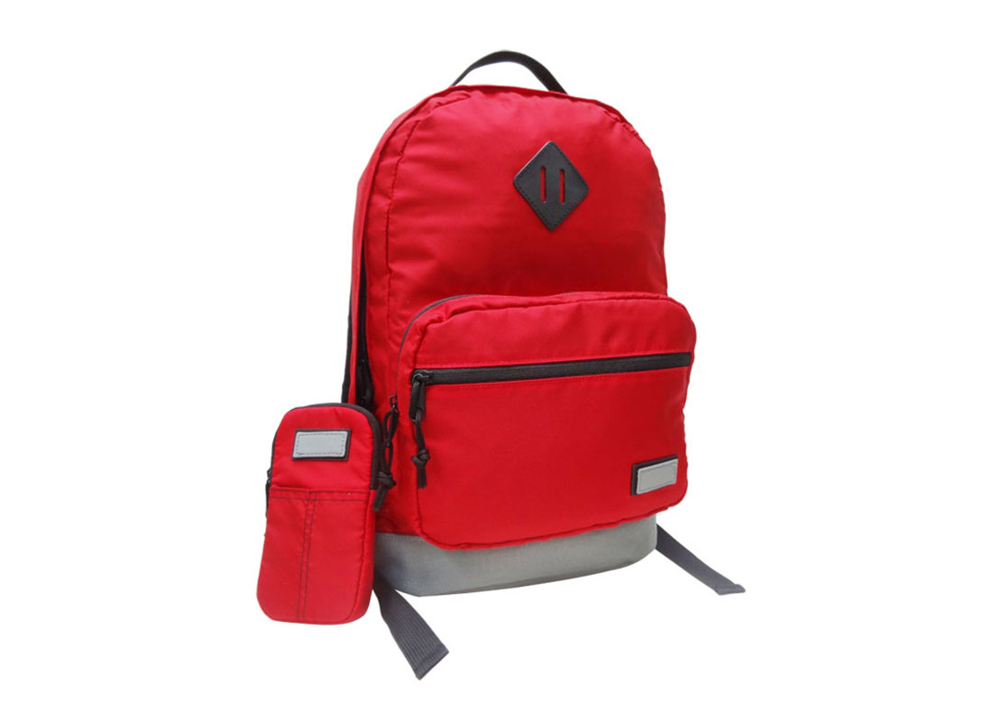 Classic Backpack in Red with cellphone pouch Side