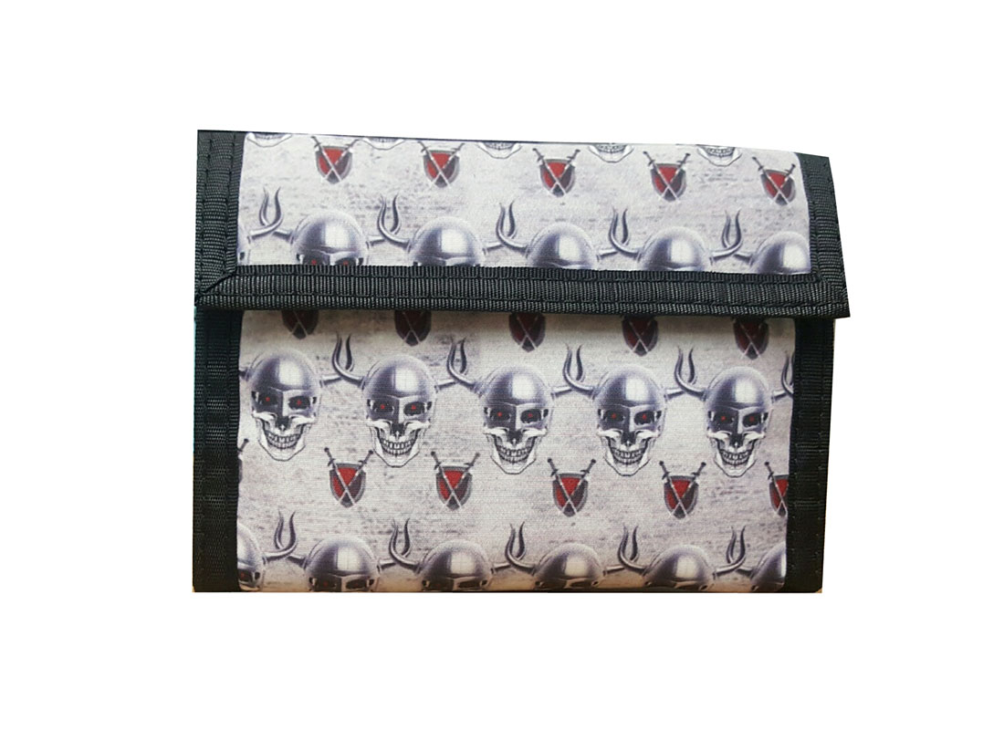 Short Wallet for Men with Skeleton Printing
