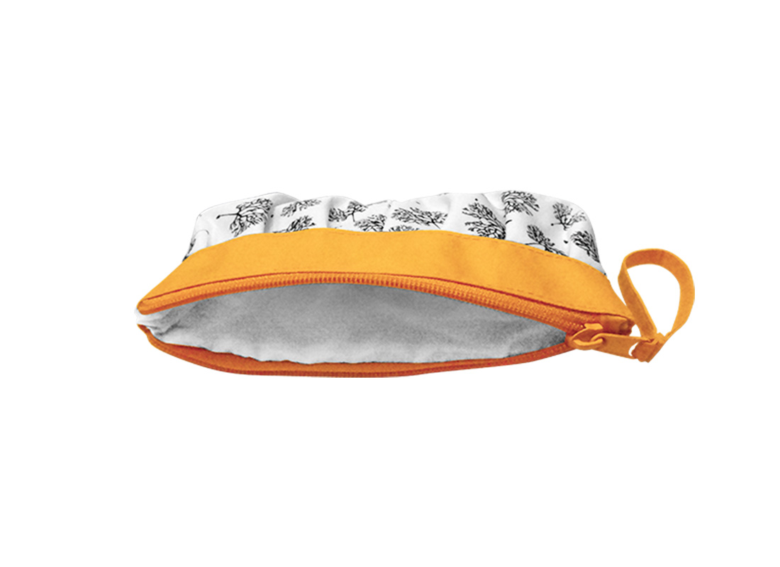 Long Makeup Pouch with Dandelion printing pattern Open