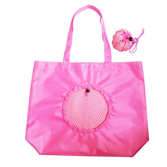 Foldable reuseable grocery bag in pink