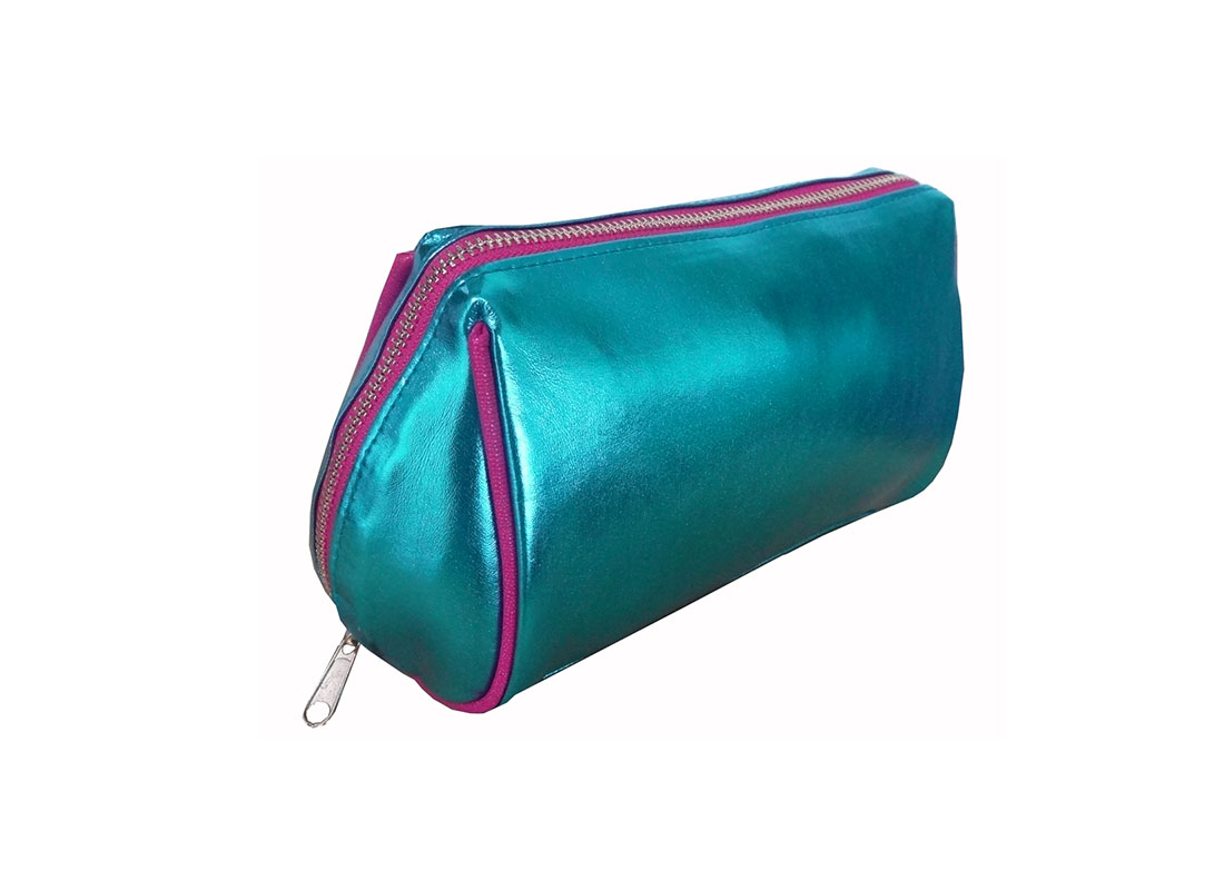 Makeup zipper pouch in shiny blue