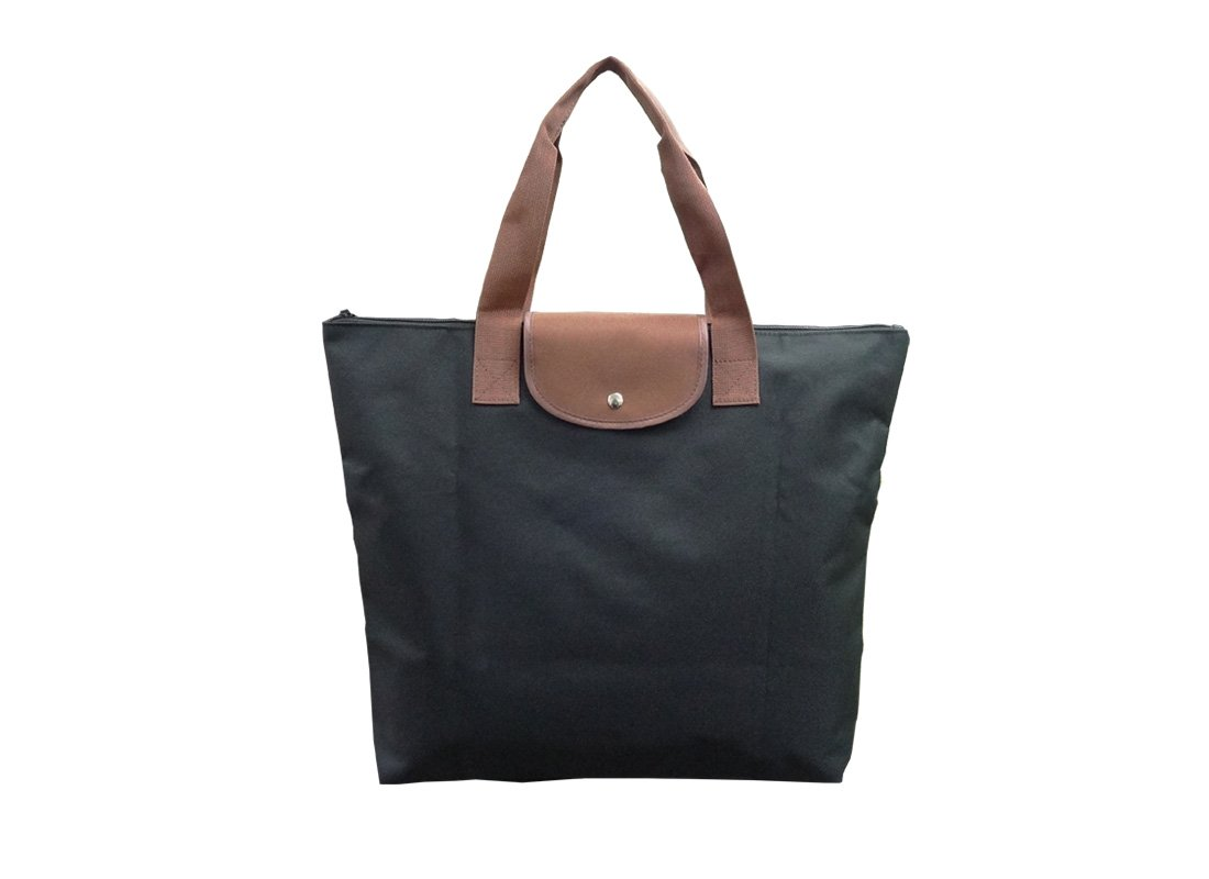 Foldable Tote Bag with zipper in black