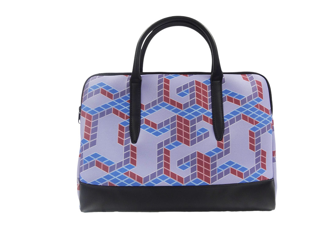 Neoprene Laptop Bag with cubic print