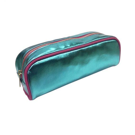 Makeup Bag Pencil Case in Shiny blue