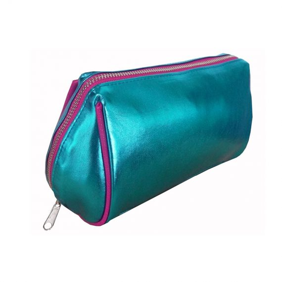 Makeup zipper pouch in shiny blue
