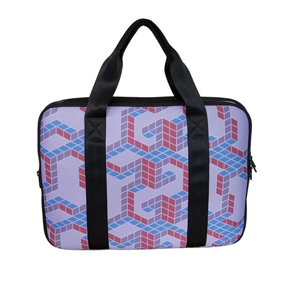 Neoprene Laptop bag with cubic printing