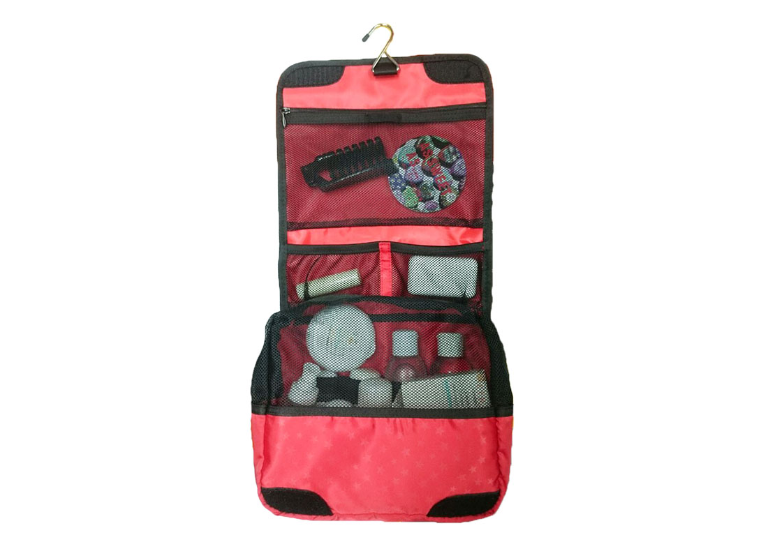 Travel Cosmetic bag in red open